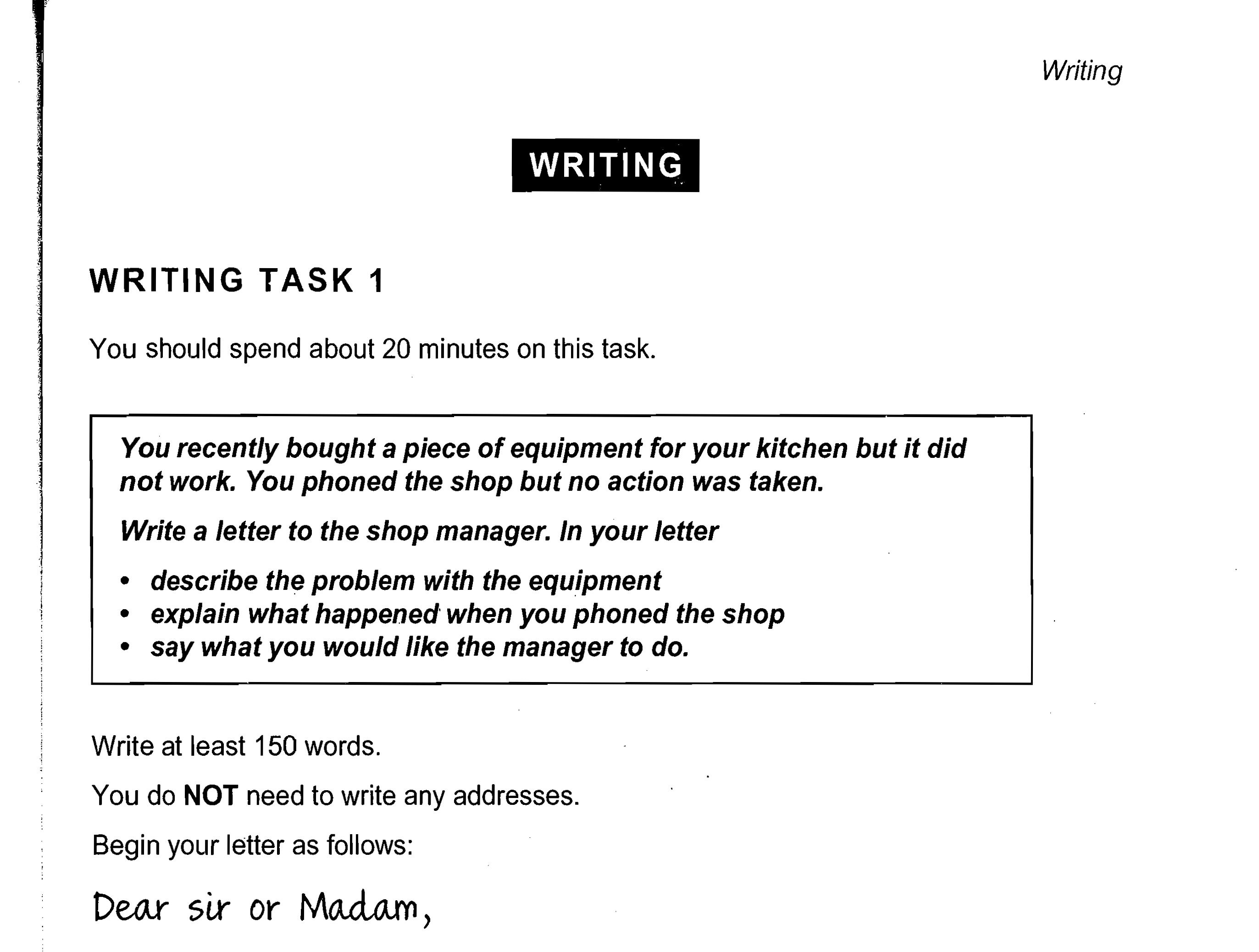 General Training Writing Task 1 Cambridge Ielts Book 8