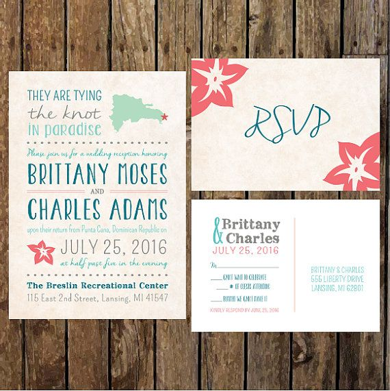 Destination Wedding Invitations Wording: DIY Custom Reception Invitations & RSVP Postcard For After