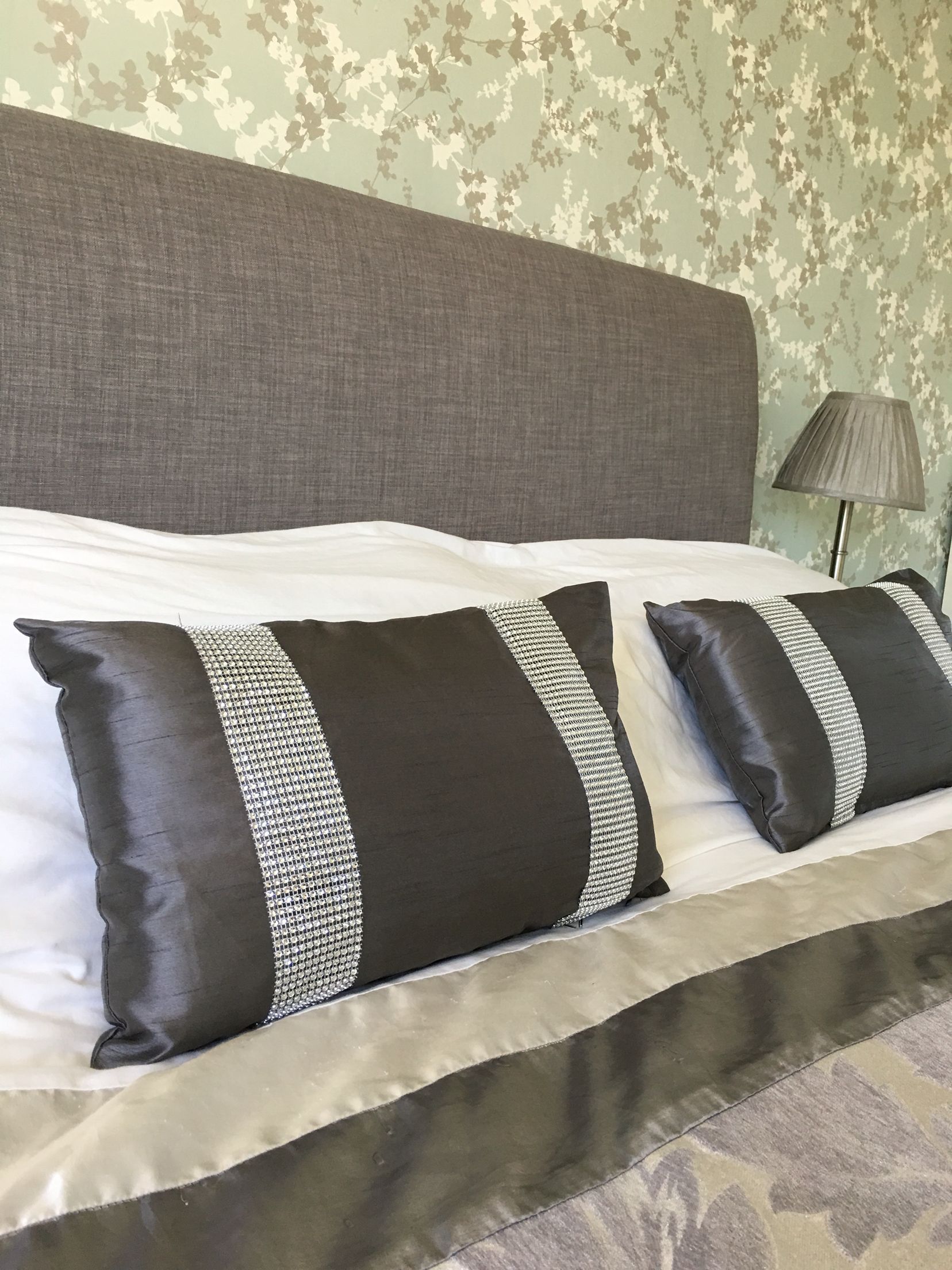 Recovered Old Leather Headboard With New Fabric Bedroom