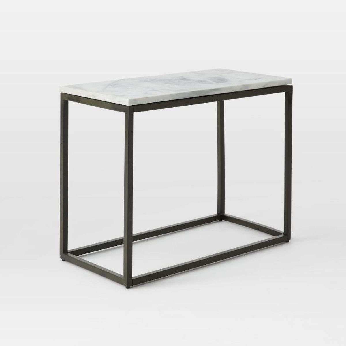 Thin Side Table box frame narrow side table - marble | current obsessions