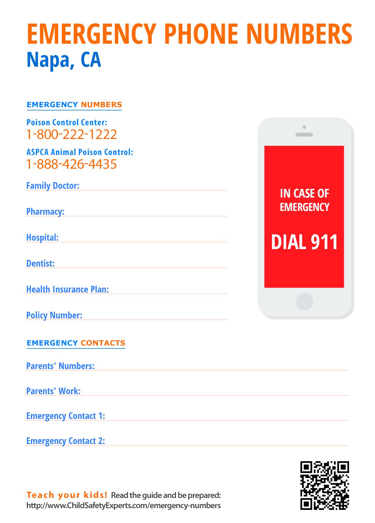 Important emergency phone numbers in Napa, California
