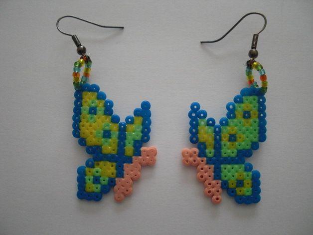 Butterfly earrings hama perler beads by Orianne22 on DaWanda