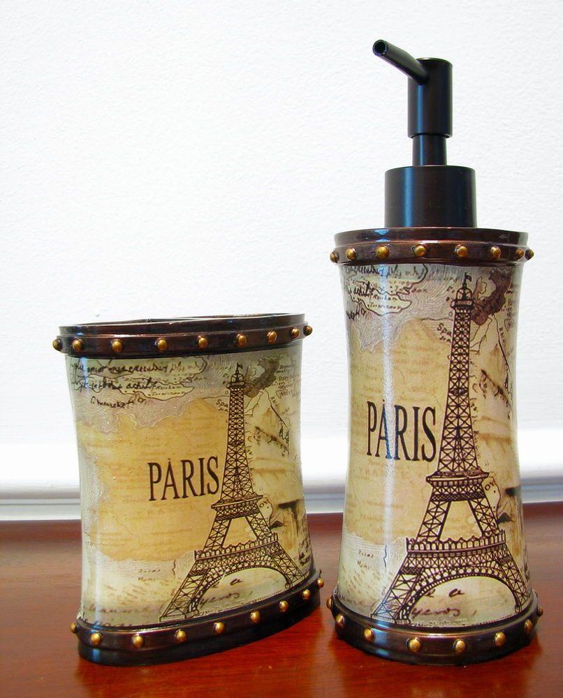 Paris Eiffel Tower Bath Room 2 piece Accessory Set.Brand ...