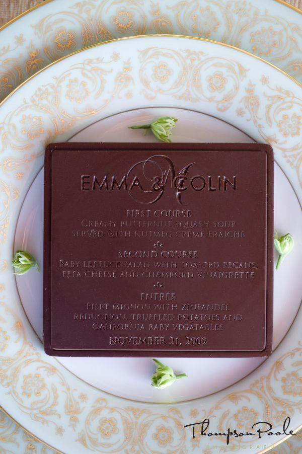 Chocolate wedding menu- or favor