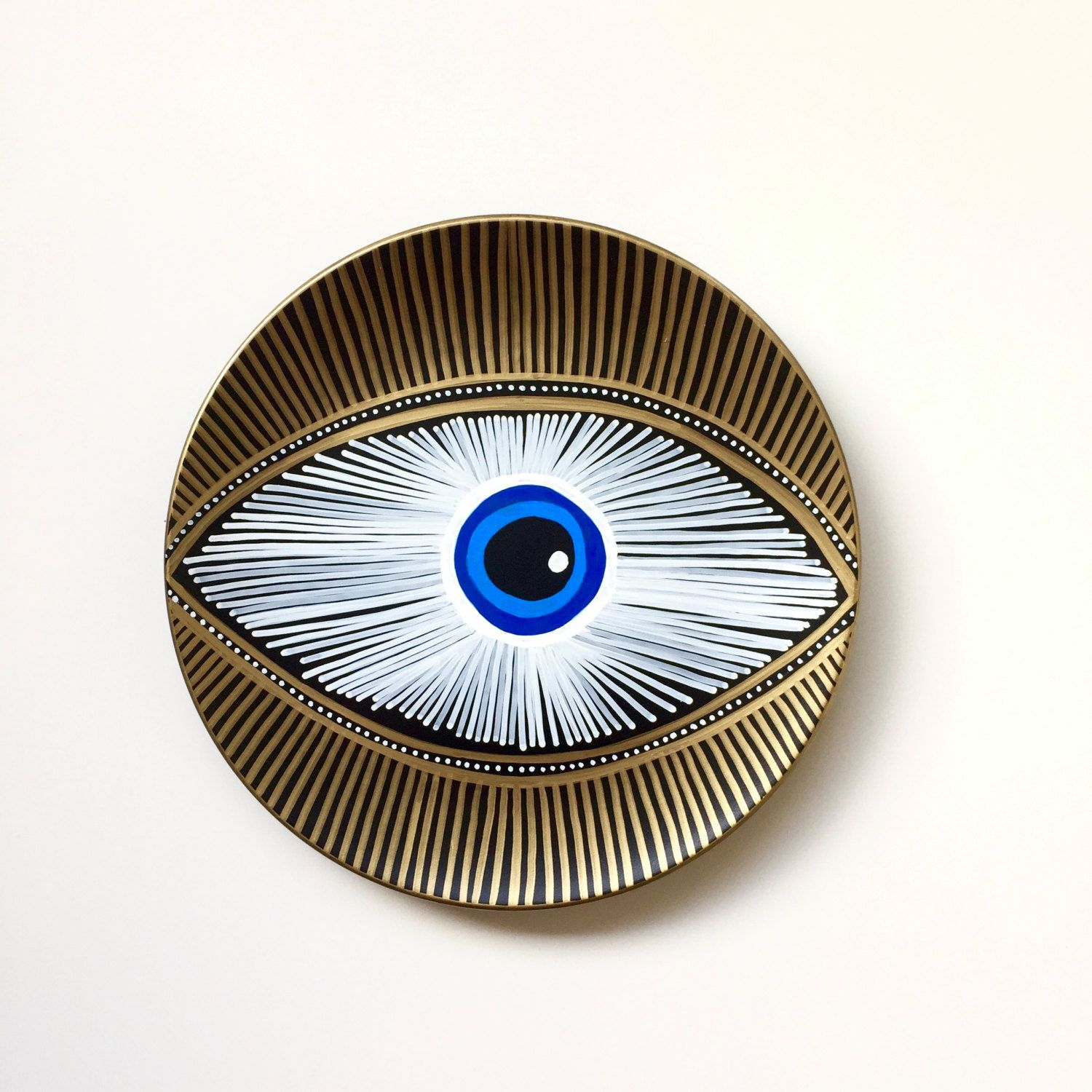 Evil eye decor decorative plate golden evil eye golden and evil eye decor decorative plate golden evil eye golden and blue evil amipublicfo Gallery