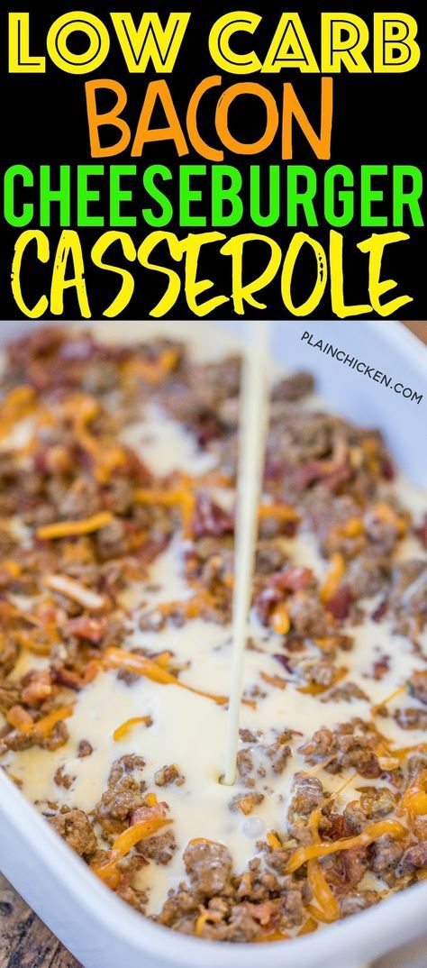 Low Carb Bacon Cheeseburger Casserole - low on carbs but high on taste! SO good! Everyone cleaned t