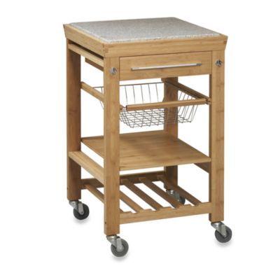 Granite Bamboo Rolling Kitchen Cart Bedbathandbeyond Com