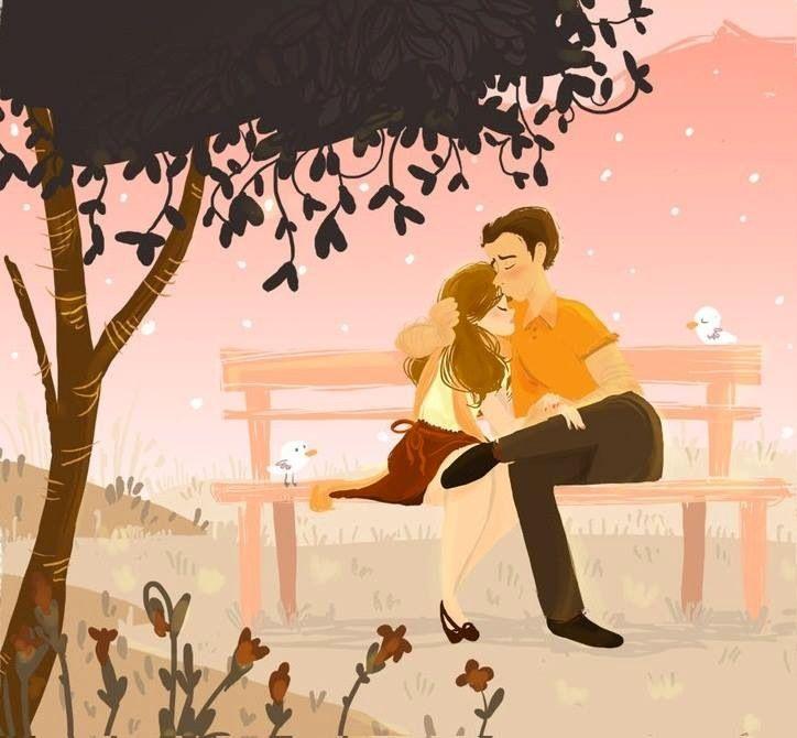 Couple On Bench Cartoon Illustration Via Www Facebook Com Gleamofdreams Cartoon Illustration Cute Couple Pictures Cartoon Pictures Of Love Couple