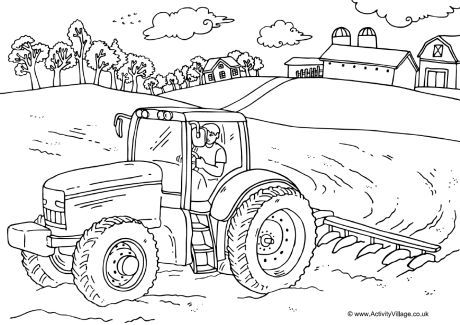 Farmer and tractor colouring page | Work | Farm coloring ...