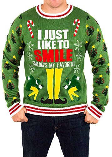 men s elf smiling s my favorite ugly christmas sweater in https www amazon com dp b01eig2ows ref cm sw r pi dp x f4nhyb4ff674f