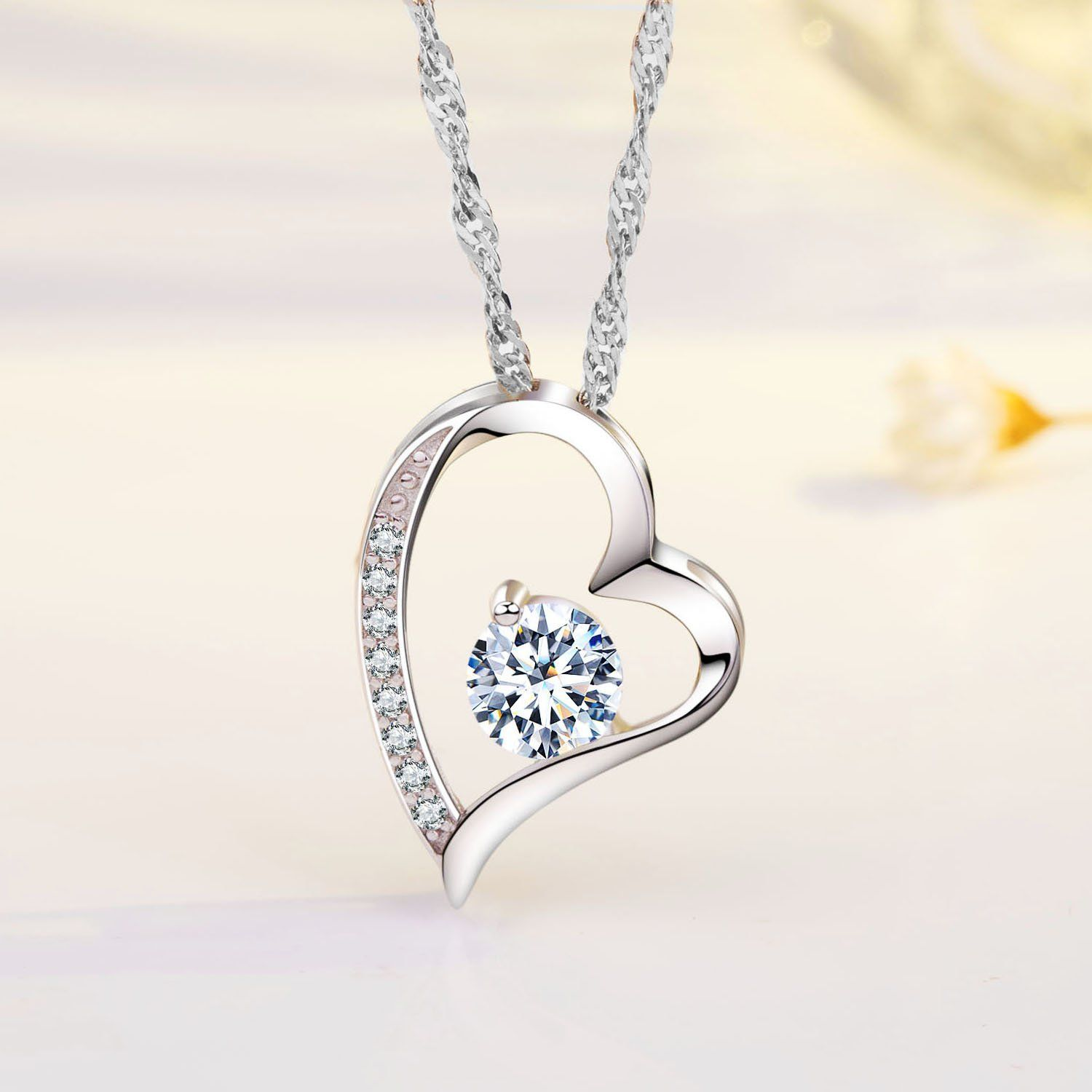 5ac199ff09 Sephla 14k White Gold Plated Forever Lover Heart Pendant Necklace * To view  further for this