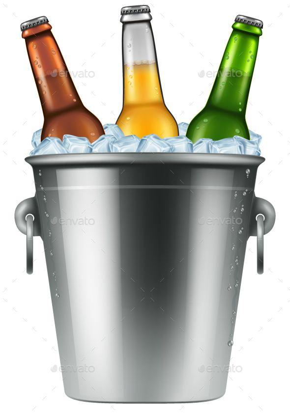 Beer Bottles In An Ice Bucket Beer Bucket Beer Illustration Beer Bottle