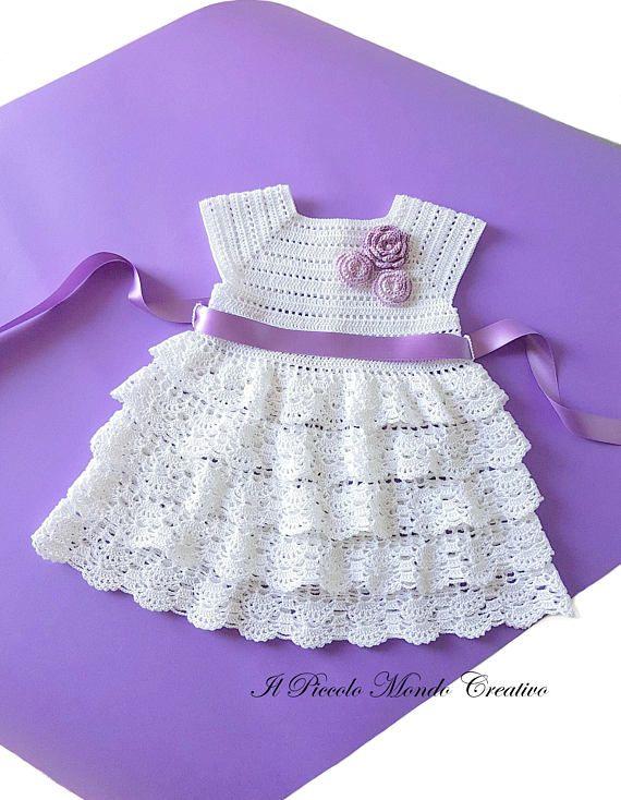 Abito Bimba Fatto A Mano Alluncinetto In Cotone Idea Baby Dress