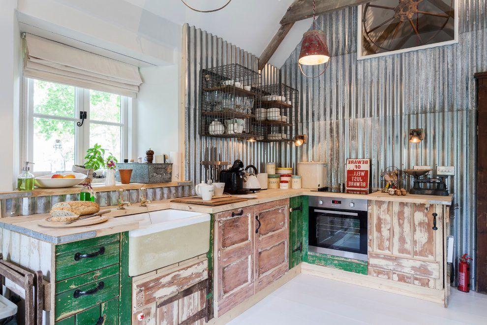 corrugated metal backsplash kitchen modern with reclaimed on step