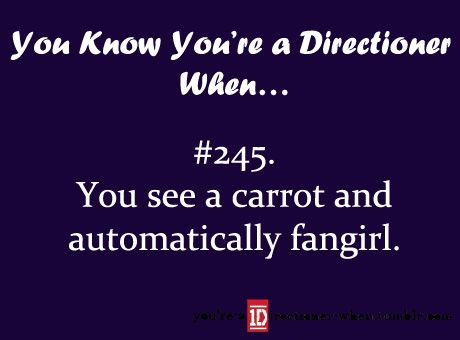 omg... i am so sick of carrots. JUST LETTING YOU KNOW Louis HATES when fans give him carrots and dress up like carrots and stuff.