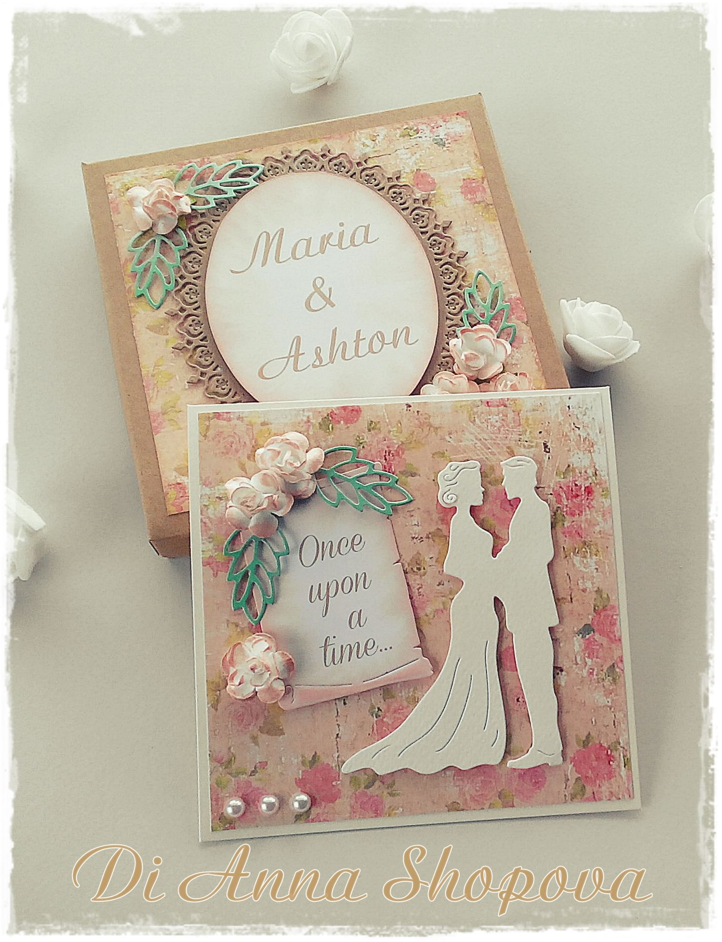 Wedding Card Handmade Boxed Personalised Shabby Rustic Chic Marriage