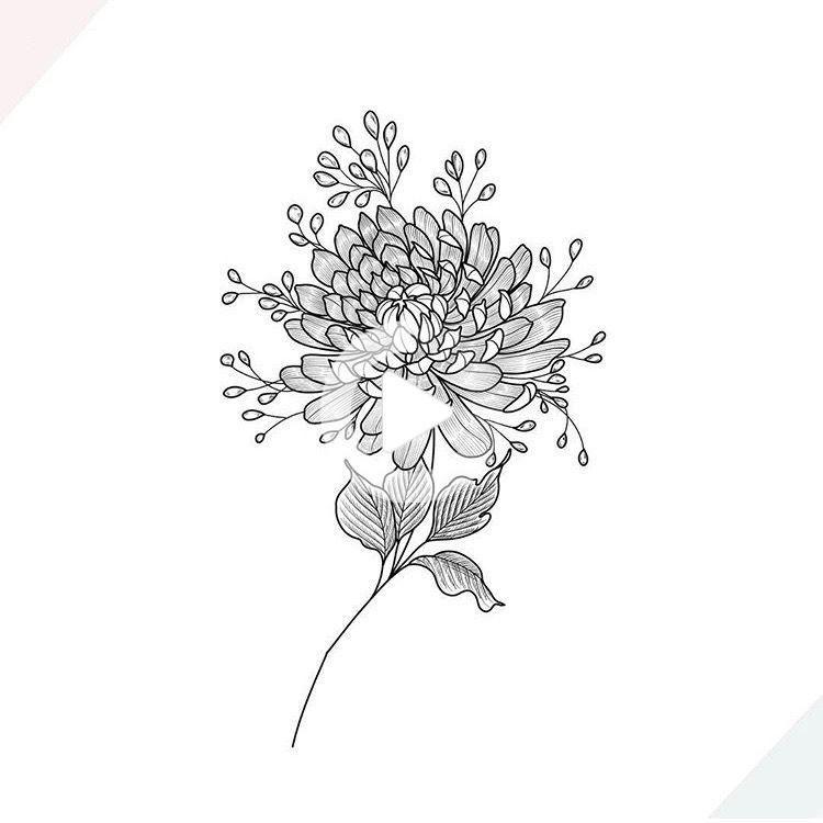 Chrysanthemum Flower Tattoo In 2020 Chrysanthemum Tattoo Chrysanthemum Flower Tattoo Birth Flower Tattoos