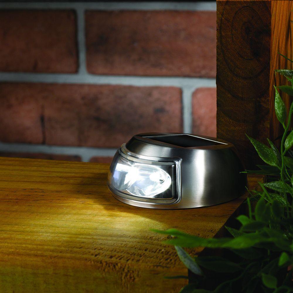 2 light stainless steel outdoor solar step light 4 pack solar
