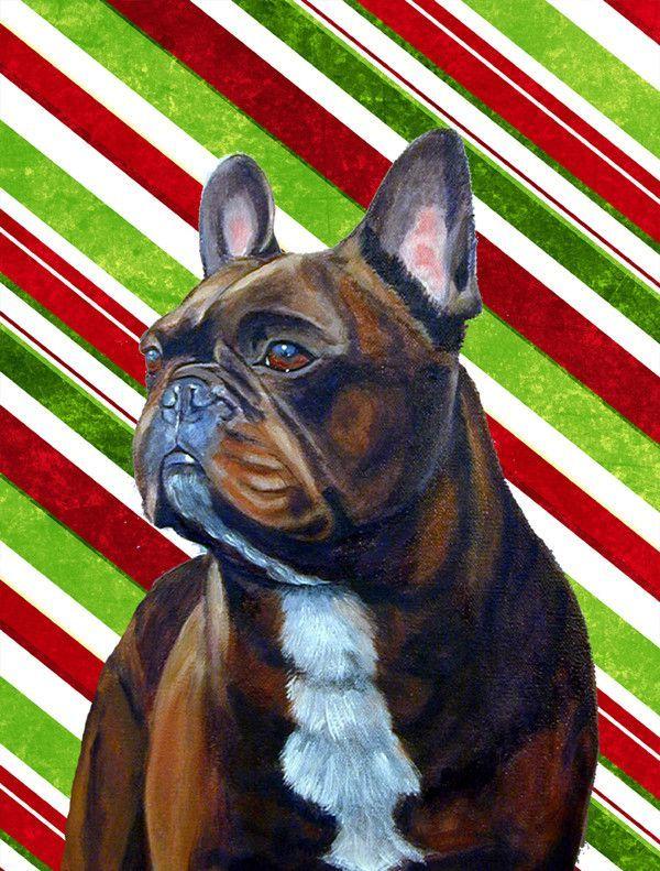 French Bulldog Candy Cane Holiday Christmas Flag Canvas House Size