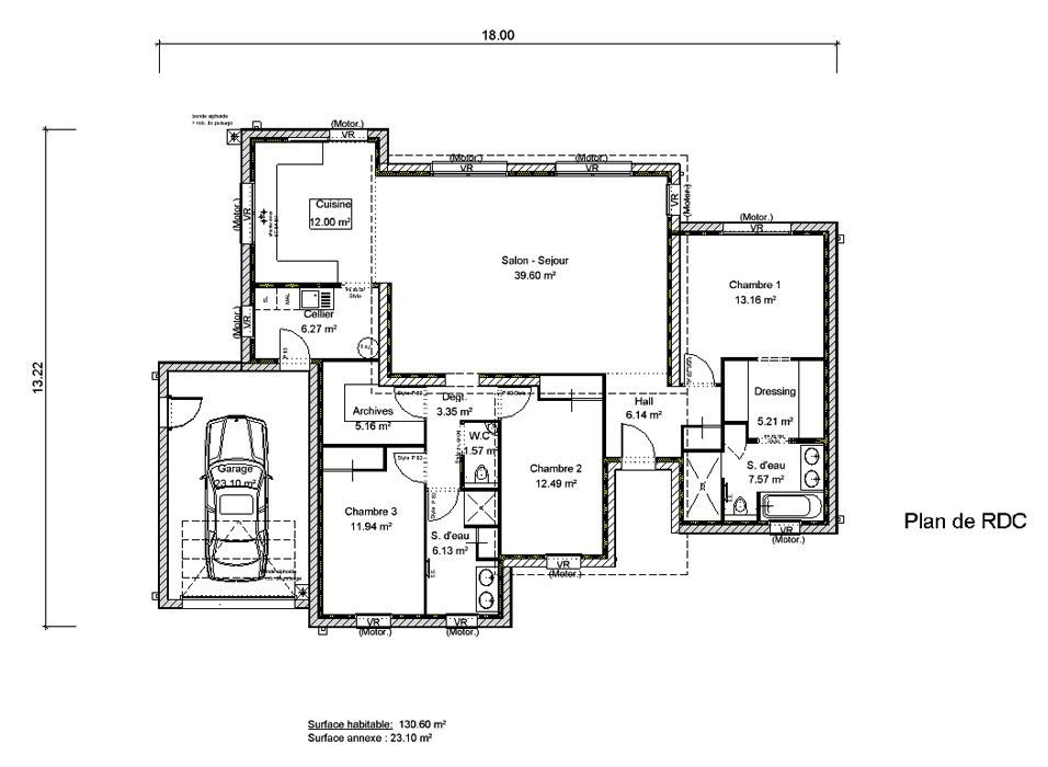 Super Maison à toit plat 3 chambres CREA08 | European floor plans  GC23