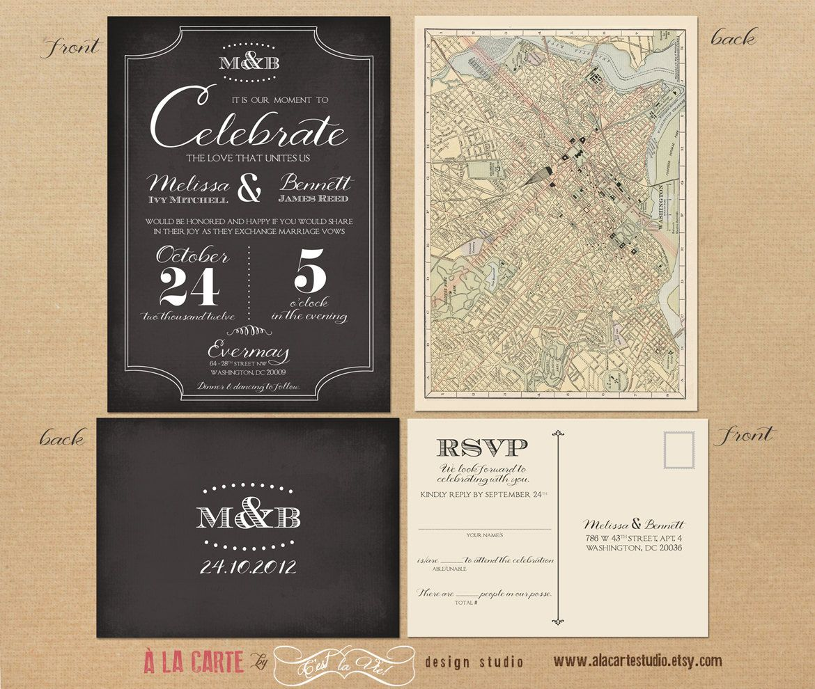 Label Style Chalkboard Inspired Wedding Invitation and RSVP Card ...