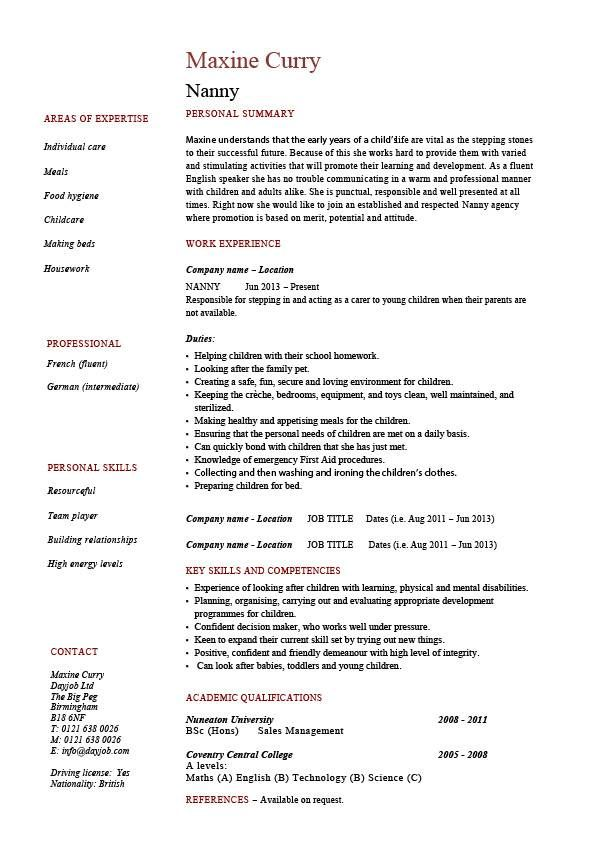 nanny resume example sample babysitting children professional - hairdressing cv template