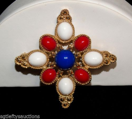 VTG-DeLizza-Elster-for-Sarah-Coventry-Patriotic-Americana-Maltese-Cross-Brooch