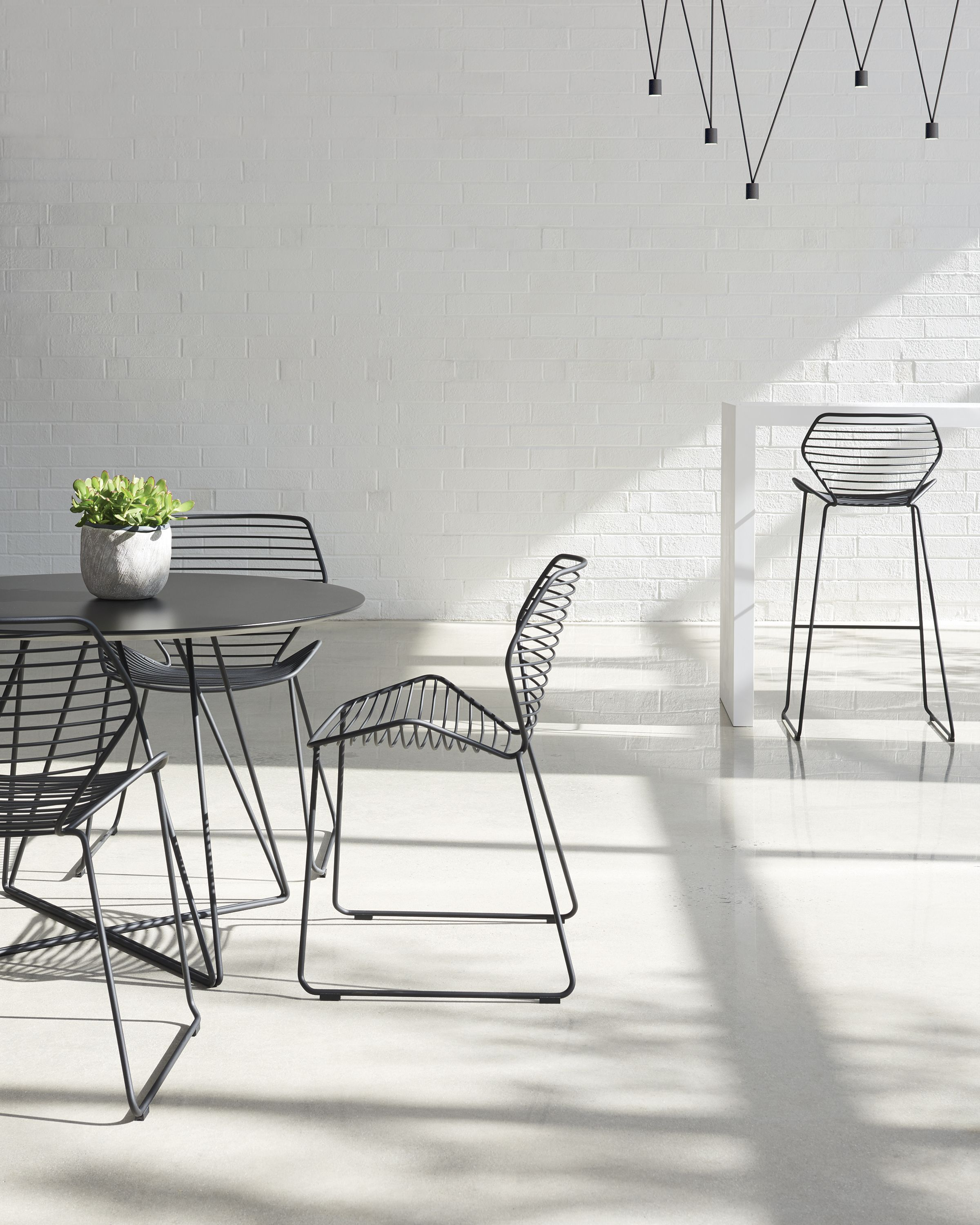 Ginkgo wire chairs table and barstool from davis furniture