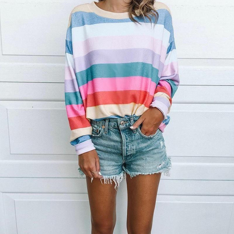 New Women Round Neck Short Sleeve Rainbow Stripes Cute Casual Loose Summer Dress