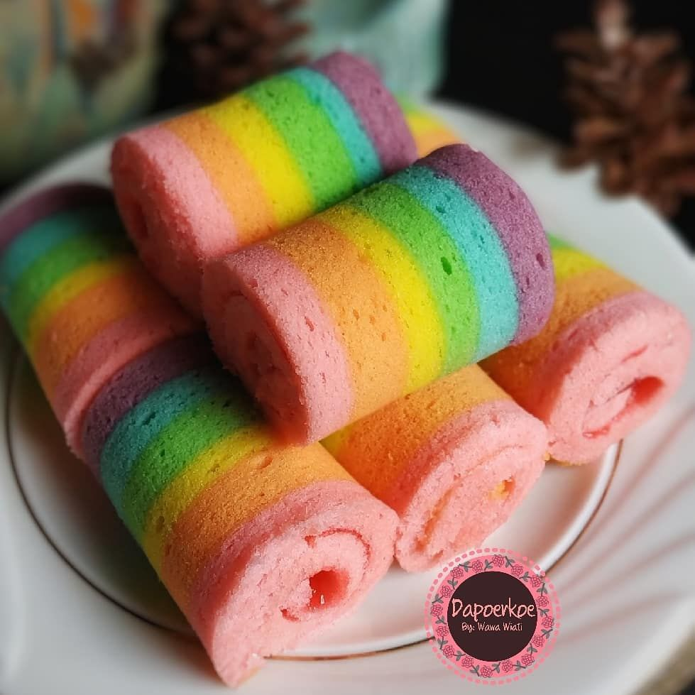 Mini Rainbow Roll Cake B Kue Bolu Makanan Kue