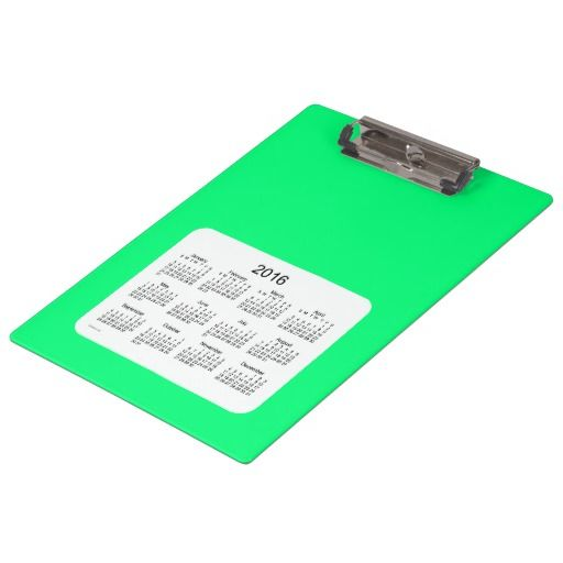 2016 Spring Green Clipboard Calendar by Janz