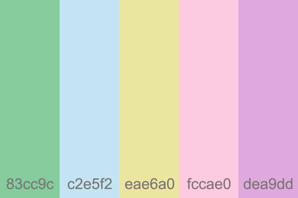 الوان الباستيل هى الدرجات الفاتحه لكل لون الوانها اللبنى الاخضر الاصفر الوردى و الموف علشان الالوان دى تناسب ديكورات غرف ا Decor Color Design
