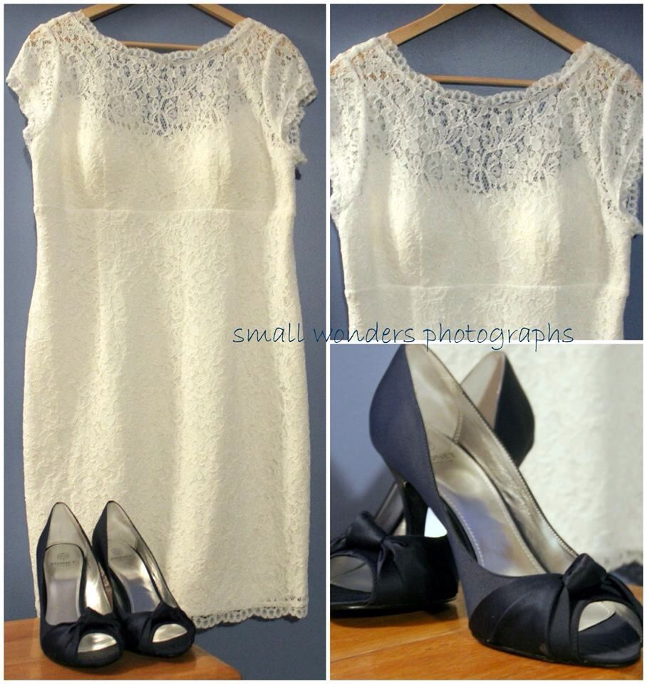 Short lace wedding dress and blue shoes small wonders