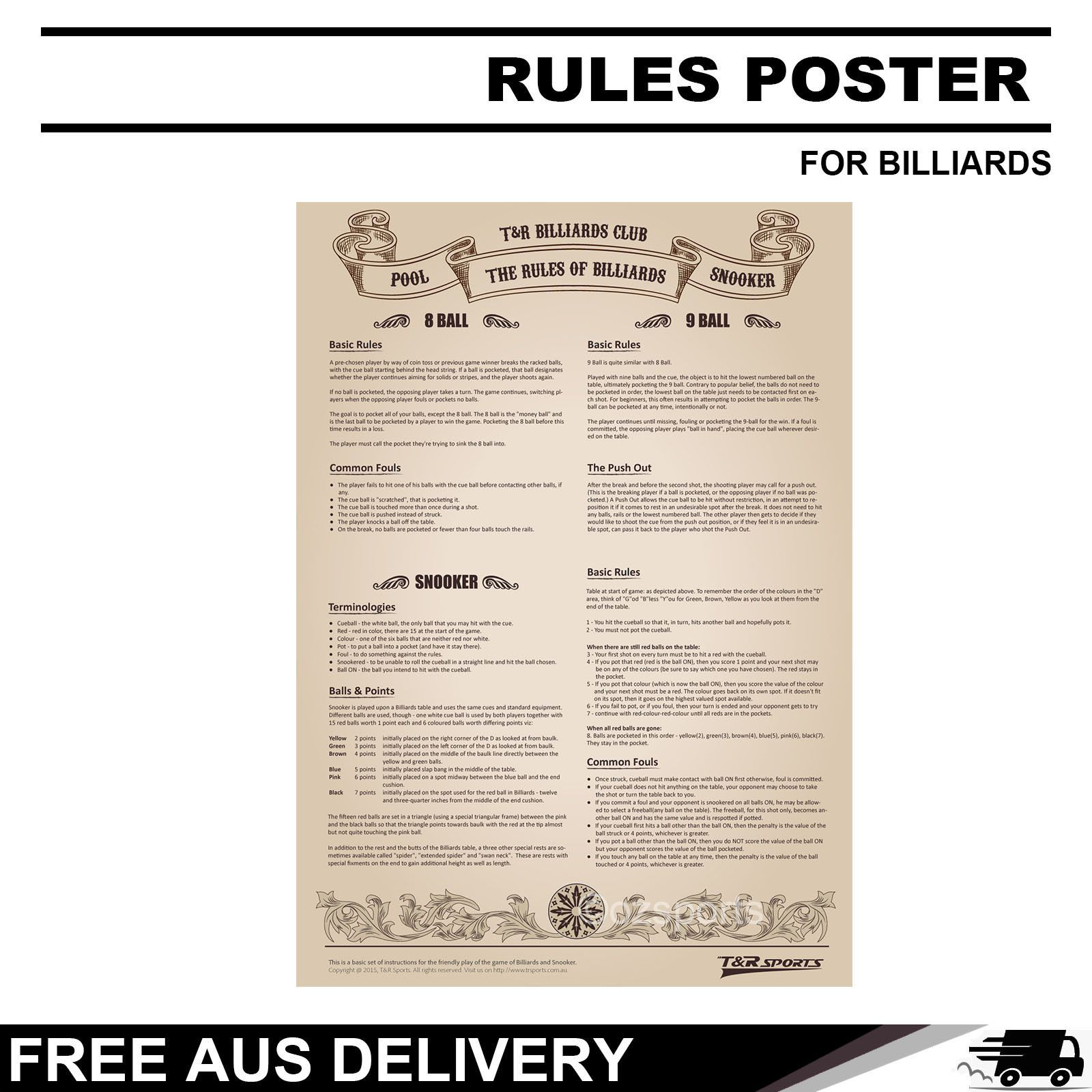 Details about RULES POSTER POOL SNOOKER GAME ROOM TABLE