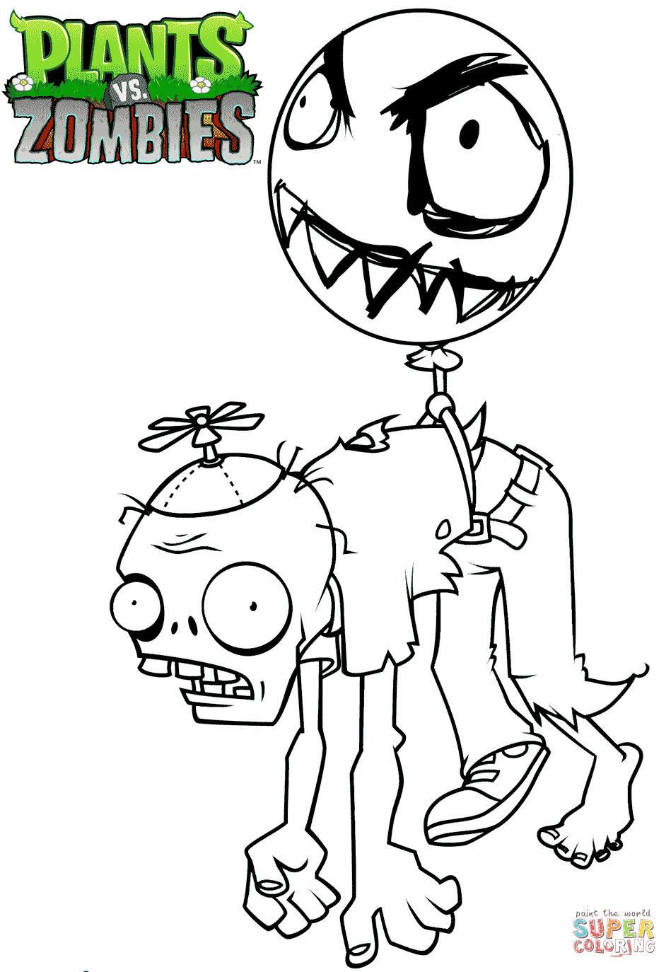 Раскраска Зомби на воздушном шаре | Раскраски для детей ...
