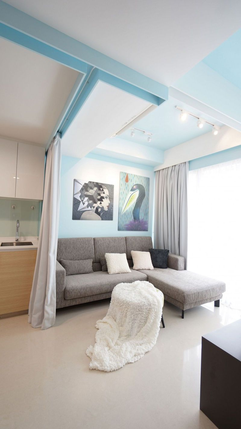Loft bed curtain ideas  Curtain Apartment by HUE D Singapore  Singapore Apartments and Lofts