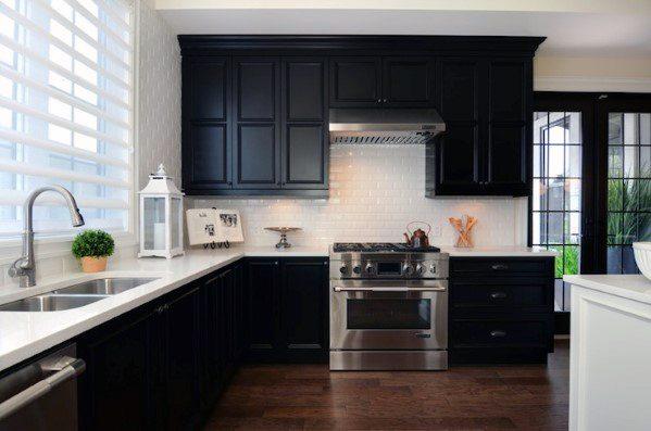 Top 50 Best Black Kitchen Cabinet Ideas Dark Cabinetry Designs Black Kitchen Cabinets Black Kitchens White Kitchen Design