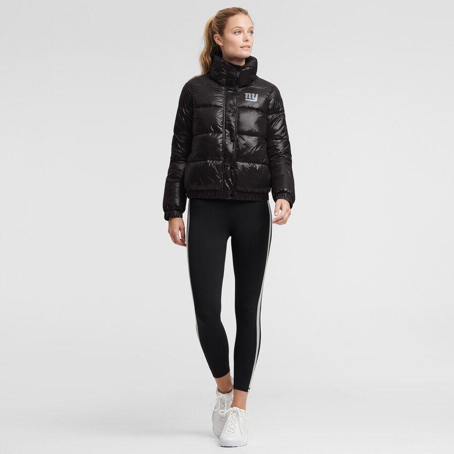 New York Giants Dkny Sport Women S Julia Full Button Puffer Jacket Puffer Jacket Black Fan Style Sports Women [ 900 x 900 Pixel ]