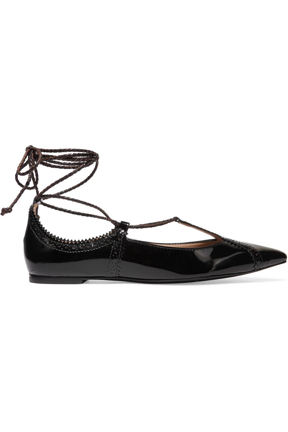 75146f6f000ca TORY BURCH Varenne lace-up patent leather point-toe flats.  toryburch   shoes  flats