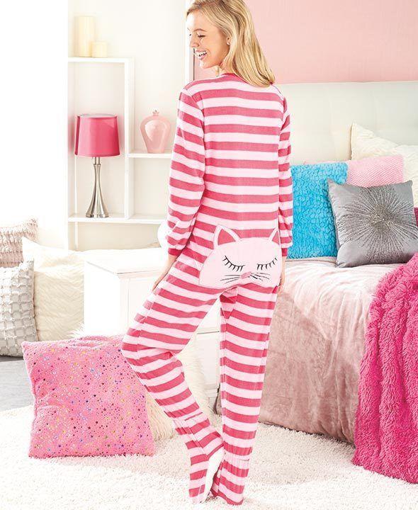 Women's Cat Animal Seat Footed Pajamas Onesie Critter PJs ...