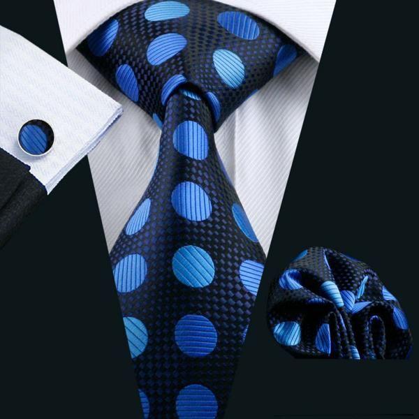 Tie Pocket Square Cufflinks Navy Blue Red Polka Dot Set Individual 100/% Silk