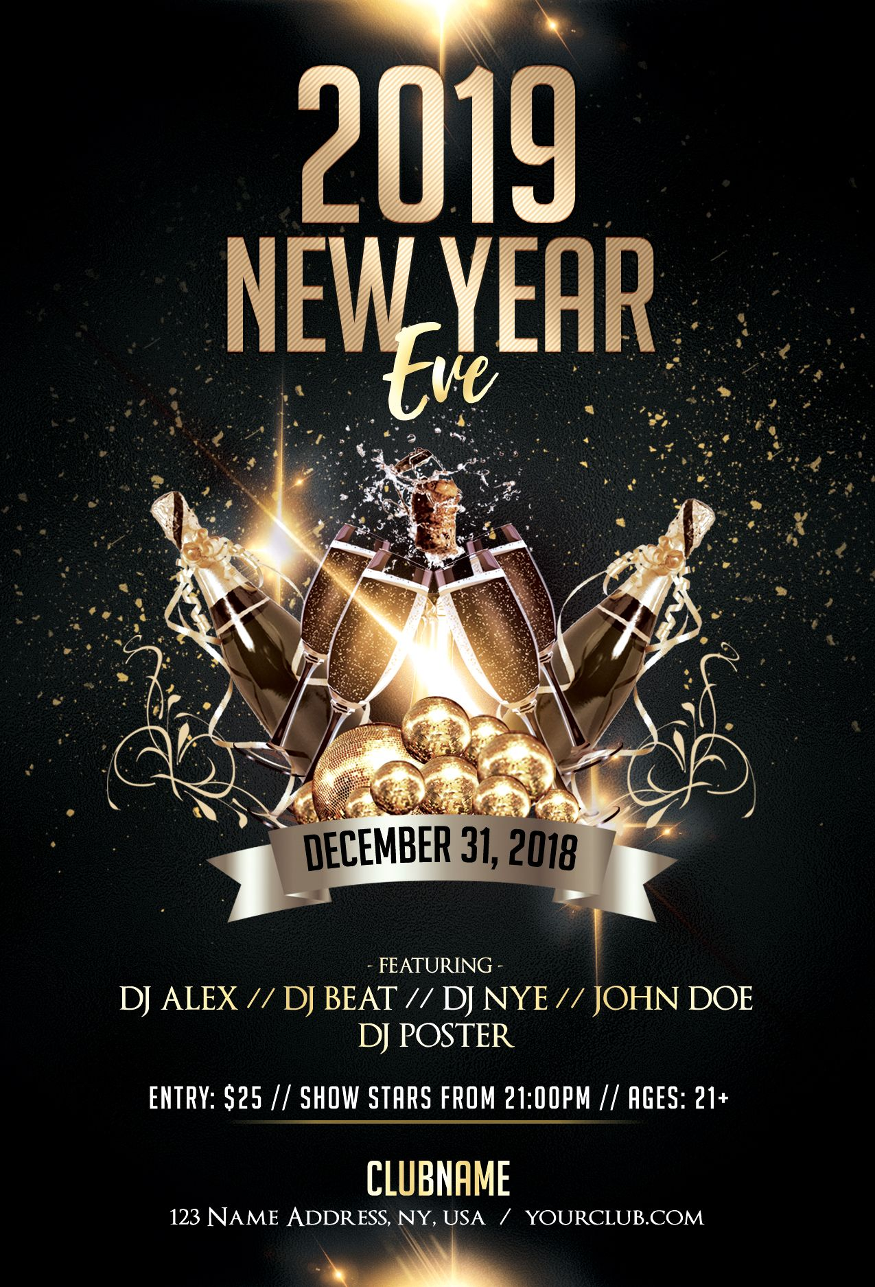 2019 New Year Eve - Luxury Free PSD Flyer Template | Free psd flyer templates, New year's eve ...