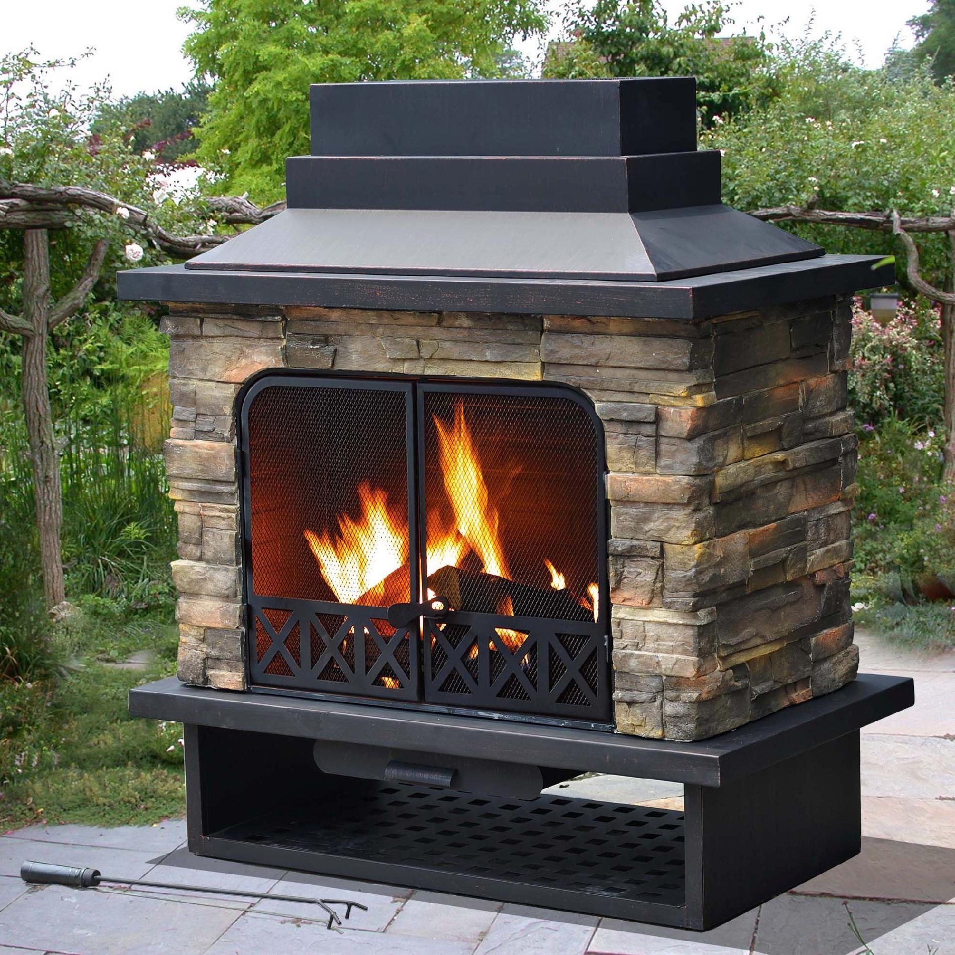 Sunjoy Sutton Fire Place Black Outdoor Wood Burning Fireplace Backyard Fireplace Outdoor Fireplace