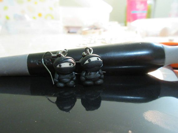 ninja earrings in polymer clay -  sneaky little guys dressed in black