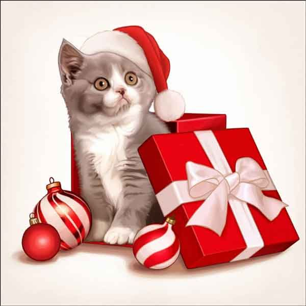 Check out the deal on Cazenave Holiday Kitten Art Ceramic Accent & Decor Tile - MC2-009cAT at Artwork On Tile Online Storefront