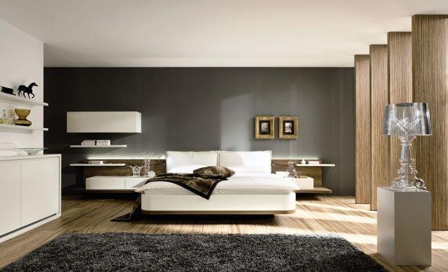 wohnideen für schlafzimmer modern weiß grau schwarzer teppich ...