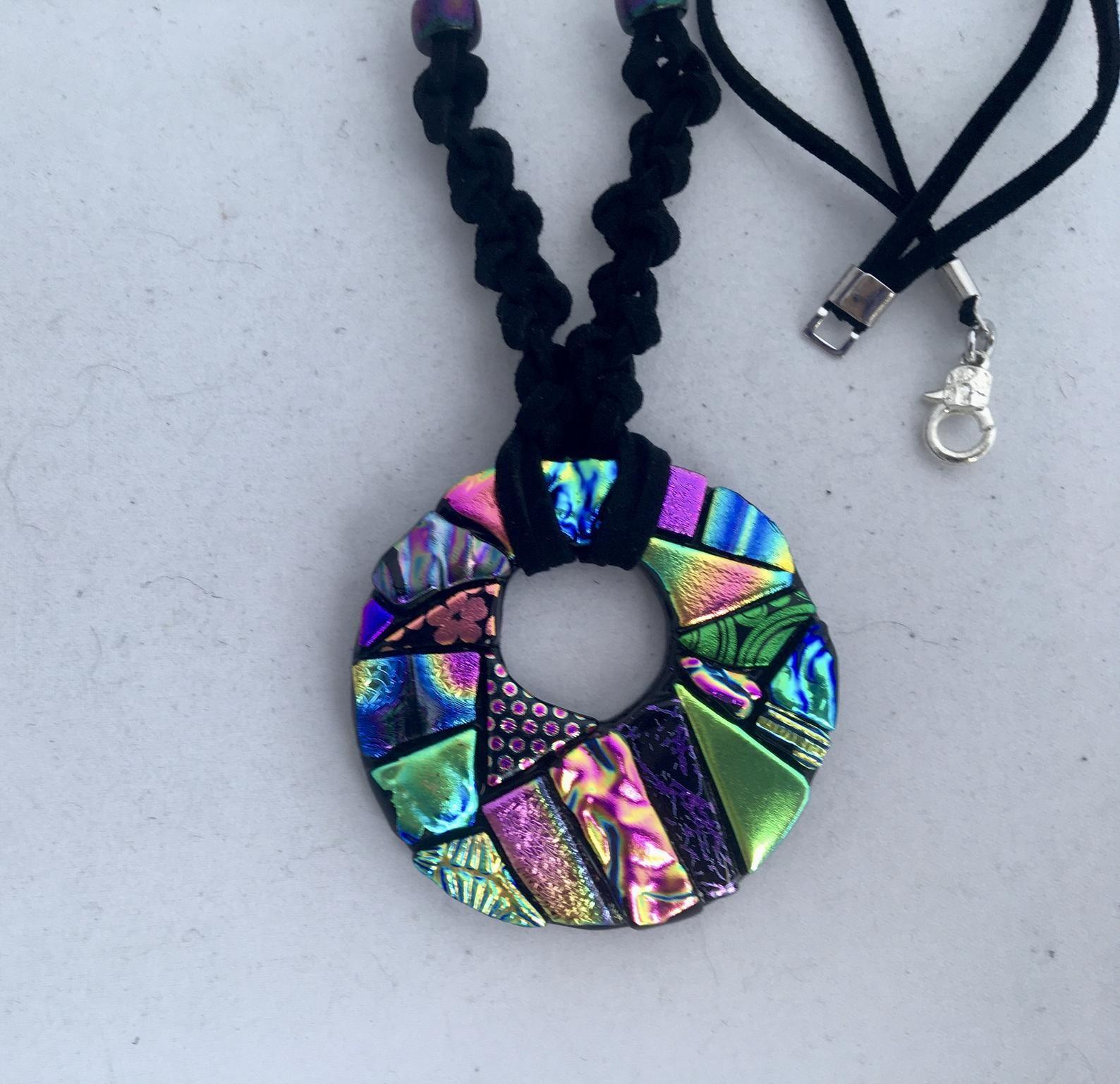 Dichroic glass round Necklace,One of a kind Unique  impressive round necklace,Original pendant Silver black Big circle fused glass  Pendant