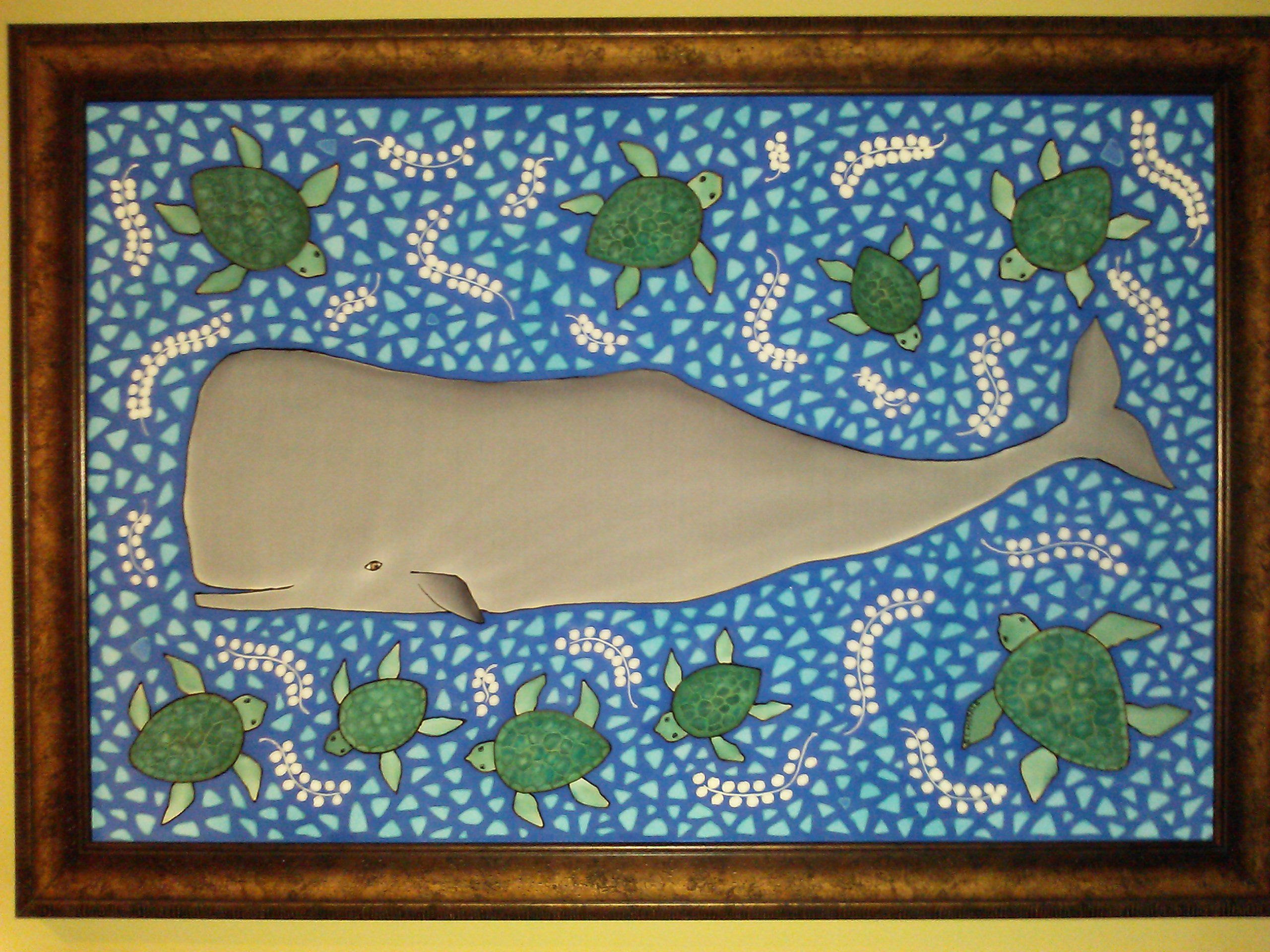 """Whale and Turtles original painting on silk , approx 30"""" x 40"""" by G L Morris  Available, price $1200.00 frame included, inquire glmorrisstudio@yahoo.com"""