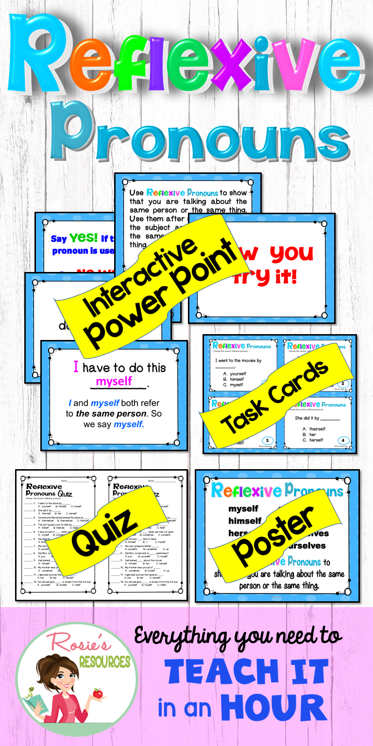 Kids Will Use Reflexive Pronouns Correctly With This Powerpoint Poster Task Cards And Qui Reflexive Pronoun Pronoun Task Cards Reflexive Pronouns Activities [ 1536 x 768 Pixel ]