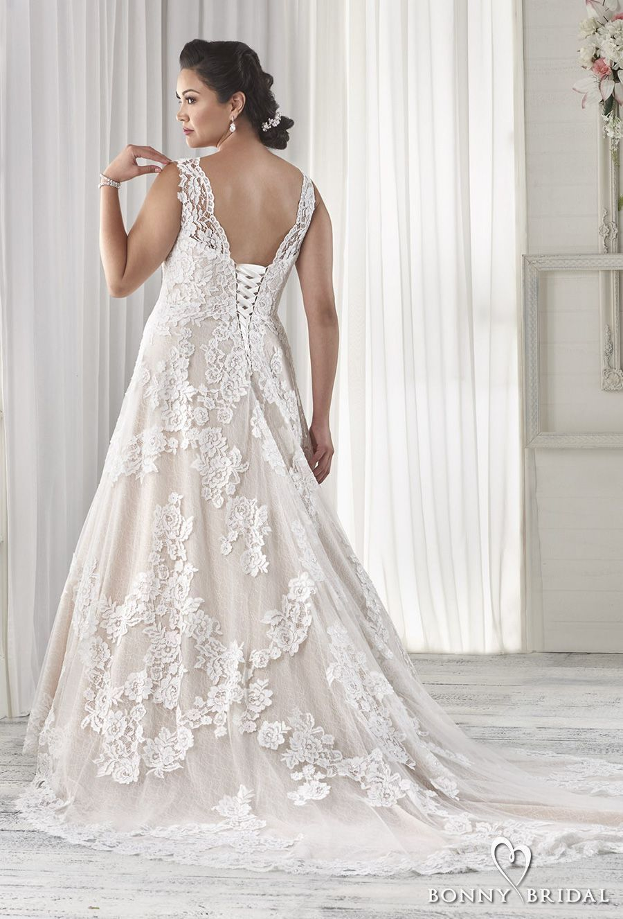 3fcc982fd4 bonny bridal 2017 embroidered strap strapless sweetheart neckline full  embellishment plus size modified a line wedding dress corset back chapel  train (1603) ...